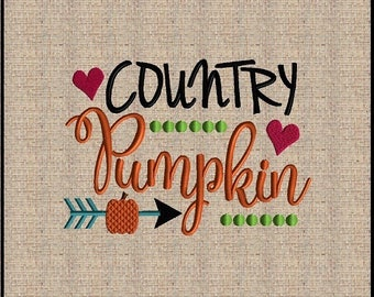 Country Pumpkin Embroidery Design Fall Thanksgiving Embroidery Design Leaf embroidery design Arrow Embroidery Design 4 sizes 5x7 up to 8x10