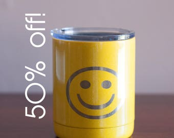 Smiley Face Low Bottle Double Wall Travel Mug