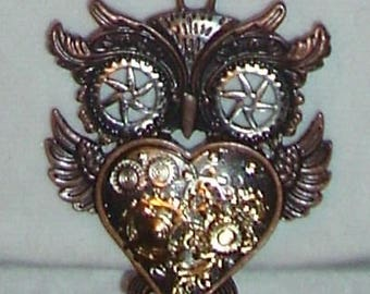 Steampunk Owl and Heart Necklace