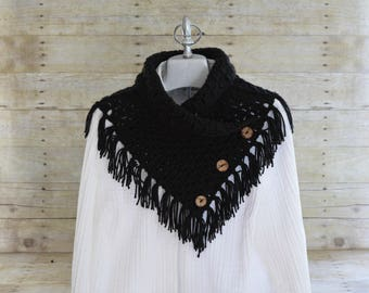 Fringed Scarf - Fringed Cowl - Scarf with buttons - Scarf - Scarf Womens - Scarf Shawl - Winter Scarf