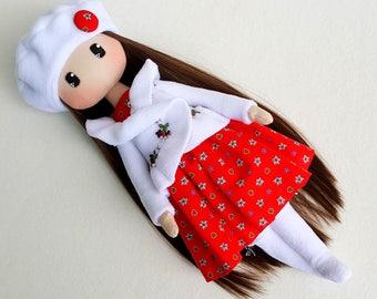 Beth Cloth Doll Handmade Doll Fabric Doll Textile Doll Rag Doll Home Decoration Doll Cuddly Red and White Doll Decor Doll Handmade Toy Doll
