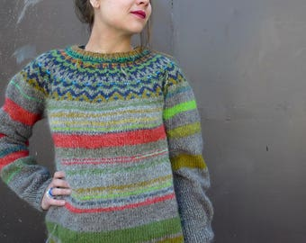 Handmade Icelandic style wool sweater with bright stripes made from natural wool