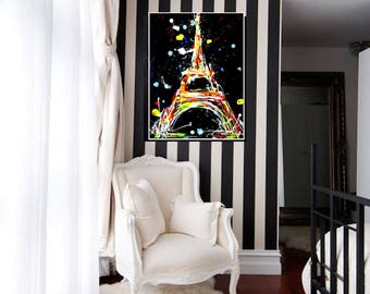 Abstract Paris Print on Canvas, Wanderlust by Lana Moes, Canvas Art, Colorful Home Decor, Contemporary, Artistic Wall Decor, Happy Colors