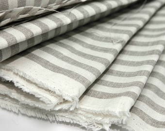 Linen fabric. Gray white stripe  100% Natural Linen Fabric (flax) by inches,  meter, yardage.  MORE fabric is AVAILABLE