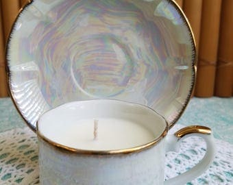 Pearlescent Demitasse Teacup Candle and Saucer
