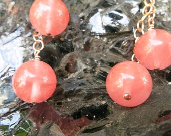Cherry quartz and rose gold chain earrings.