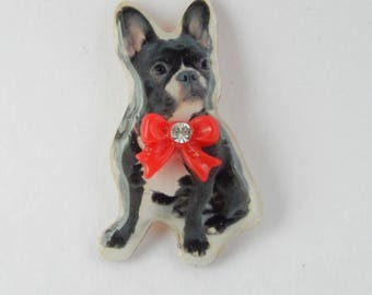 Kawaii wooden Bulldog with bowtie Pin Brooch