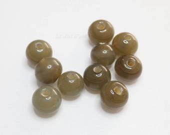 10 x glass beads, round shaped - smoky grey/brown