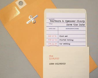 Library Date Due Check Out Card Invitations/Save the Dates (Sample)