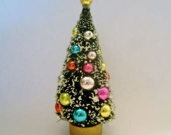 bottle brush tree decorated frosted 4 12 fairy garden - Bottle Brush Christmas Tree