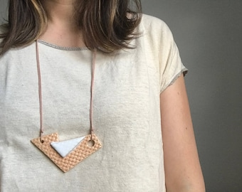 Orange Creamsicle Ceramic Necklace