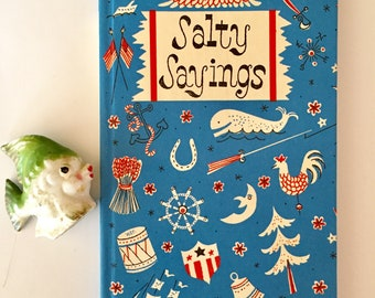 Salty Sayings, Peter Pauper Press, Tiny Book, Nautical Cover, Red White Blue, 1959 First Edition, Henry Martin, Illustrations, Beach House