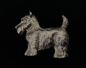Vintage Beautiful Gold Tone Scottie Dog Brooch (JT2)