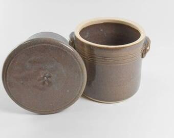 Gray butter keeper - butter crock - pottery butter dish - French butter crock - butter saver S139