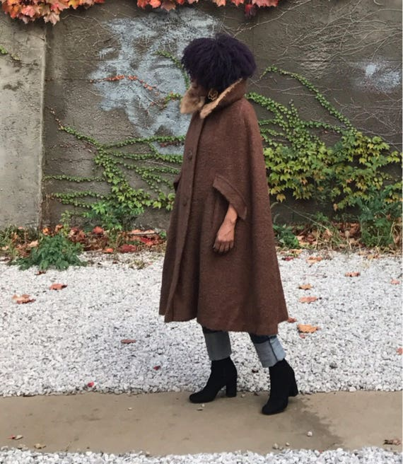 Vintage Wool Cape with Mink Collar.