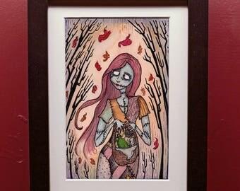 Fall Sally Art Print 5x7 with Matting