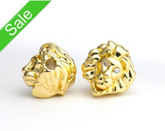 30% OFF,Gold CZ Pave Lion Head Bead, Rhinestone Micro Pave Lion Head Charm,Cubic Zirconia Pave on Copper, 10x11mm,Pkg of 1 PC, B0NB.GO01.P01