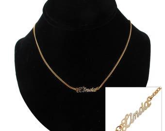 """Script Name Linda Charm Pendant Gold Tone Necklace 16"""" Vintage 70s"""