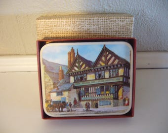 OLD INNS Coaster Set - Coasters made in Britain - Set of 6 - Vintage English Coasters