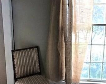 Burlap Curtains, Lace Trim, Chic Window Treatments, Curtains