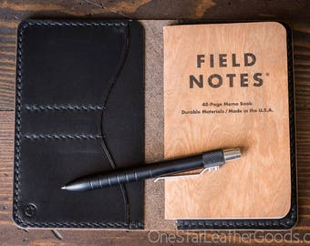 "Field Notes wallet, ""Park Sloper No Pen,"" notebook cover - black Horween Chromexcel"