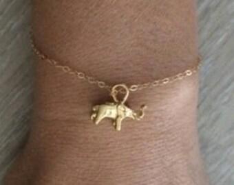 Gold Elephant Bracelet, Thin Gold Bracelet, Gold Bracelet