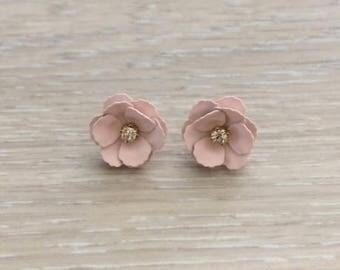Flower Earrings, Rose, Gold Flower Earrings, Statement Earrings