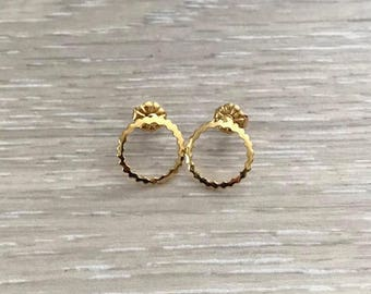Gold Circle Earring, Gold Earring, Gold Studs, Circle Studs