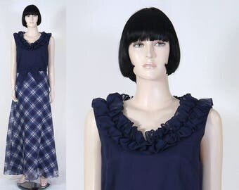 Vintage 1970s Navy Blue Plaid Organza Dress by Miss Elliette - Size 16  - Formal Gown w/Ruffles - Blue & White - Boho Maxi Gown
