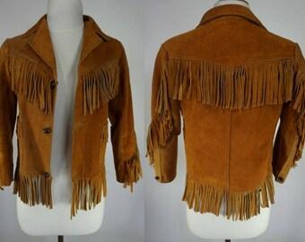 Vtg 70s Fringe Suede Jacket || Cropped Fringe Leather Jacket || Whiskey Rust Leather Jacket || Cropped 70s coat || Youth 14 Womens XS SMALL