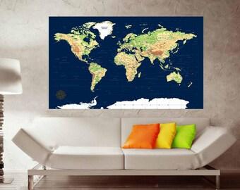 World Map Push Pin Etsy - World map poster push pins