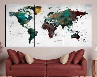 World Map Wall Art,World Map,Large World Map,World Map Canvas,World Map Print,World Map Push Pin,World Map Watercolor,World Map Abstract Art