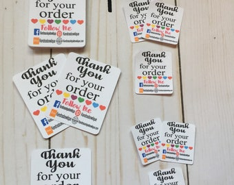 Tiny thank you follow me cards,tiny thank you cards,thank you cards,handmade printed cards,card stock,colorful customizable cards,advertise