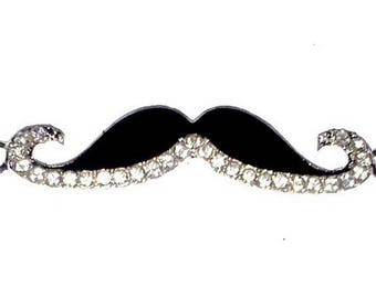 """1 Connector """"mustache"""" enameled black and rhinestone Crystal 4.6 cm"""