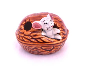 Vintage  Mouse In A Walnut, China Mouse Made In Japan, Vintage Napcoware, 1950 Mouse Ornament, Kitsch Mouse Figurine, Napcoware Japan