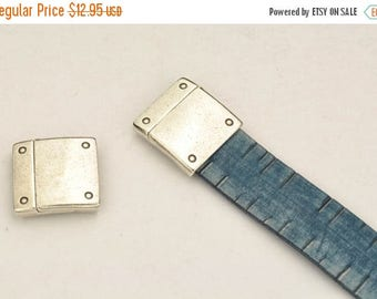 ON SALE 20MM Clasp with Rivets - Sterling Silver Plated Leather Cord Finding  -  fits Leather including 5mm - 20mm Flat Leather Cord  - Jd-C