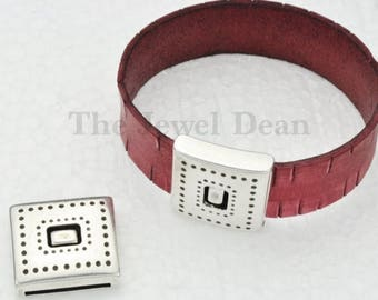 ON SALE Deco Pinhole Magnetic 20MM Clasp- Antique Silver - For Use with Leather Cord up to 20Mm Flat