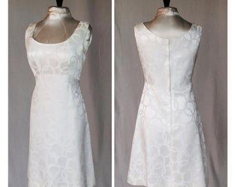 "Sexy Summer Sale 1960's Creamy White Brocade Circle Pattern Wiggle Dress size Bust 37"" under bust high waist 32"" Hips 38"""