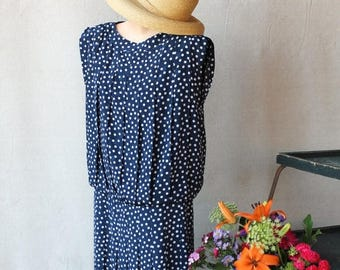 Sexy Summer Sale 80's does Art Deco Style Blue with White Polka Dot Pleated Drop Waist Short Dress by Liz Claiborne size 8