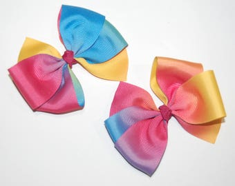 Simple pigtail pinwheel hairbows rainbow hairbow ombre
