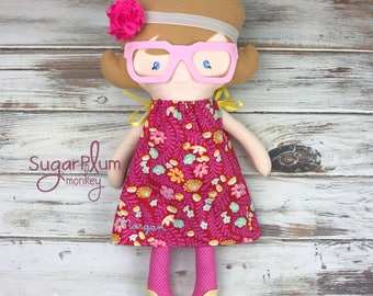 Made To Order Cloth Alice doll with glasses - Fabric Doll - Dress Up Doll - Handmade Doll - Rag Doll - Room Decor - Heirloom Doll