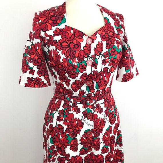 Vintage floral dress flowery print teadress UK 14 80s does 1940s re enactor shirtwaister button front dress 1930s wartime WW2 moschino print