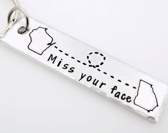 Custom State Country Miss your face Long Distance Relationship Love family best friend going away gift state to state USA keychain her him