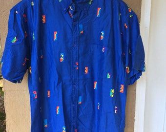 80's/90's Abstract Print Men's Button Down Shirt, Sz Md