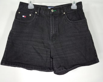 Vintage Tommy Hilfiger black cotton denim high rise shorts ladies size 12