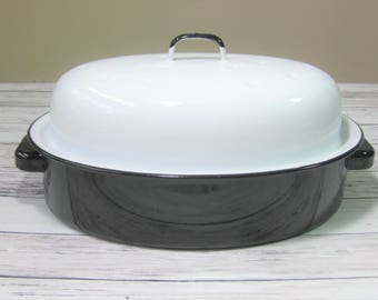Enamelware Roaster, Enamel Roasting Pan, Enamelware Covered Roaster