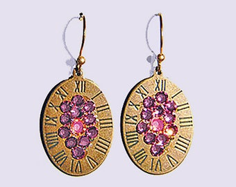Copper Oval Clock Face & Pink Crystal Earrings