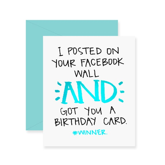 Foil Facebook Birthday Card Funny Greeting Card Happy – Greeting Cards Birthday Funny