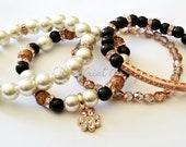 Rose Gold Black and Pearl Beaded Bracelet Set, Minimalist, Charm Bracelet Rhinestone, Stretchy, Stack, Custom Handmade Beaded Jewelry