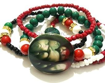 Red, Green, White, Black Beaded Bracelet Set, Stack, OOAK, Stretchy, Womens Gifts, Boho, Custom Handmade Beaded Jewelry